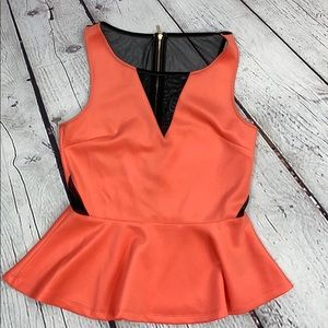 Women's sleeveless peplum BEBE blouse size m